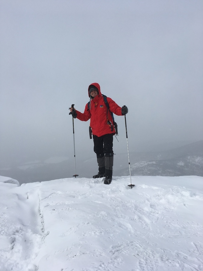 At the summit of Cascade Mountain. Visibility was better than I had hoped. Very happy to be here!