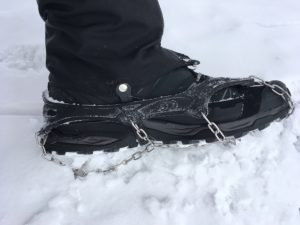 Micro-spikes on my boots provide added traction on icy or slippery surfaces