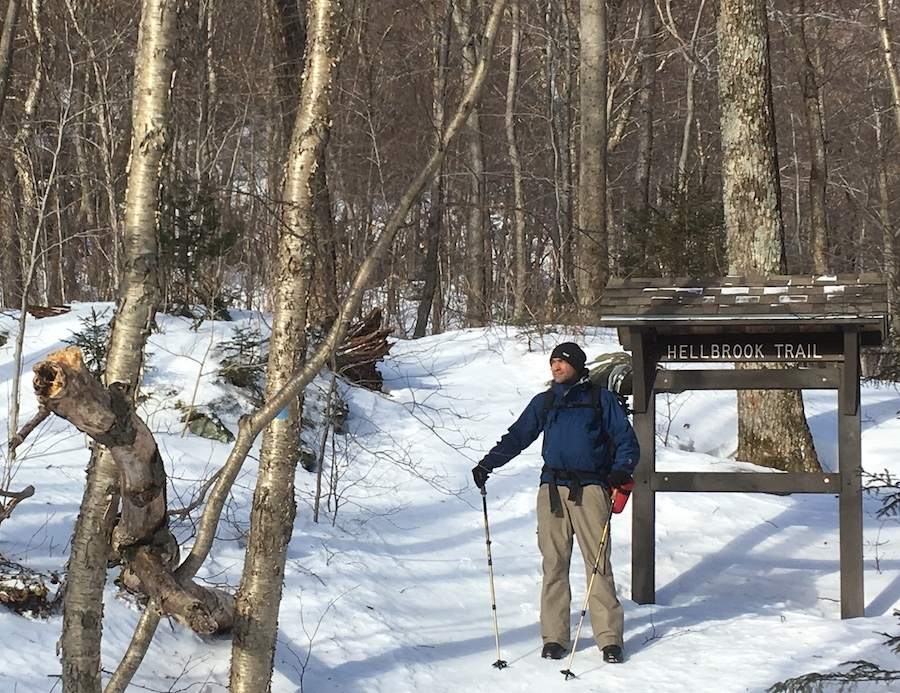 The trailhead for Hellbrook Trail is on the western side of Route 108 Scenic. The trail begins relatively flat and then ascends rapidly up the mountain.