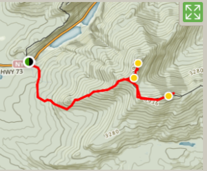 Topographical map of Cascade/Porter Mountain trail from Route 73
